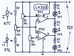 Схема индикатора уровней на компараторах