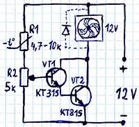 схема автоматического включения кулера, компьютерного-вентилятора от-изменения температуры