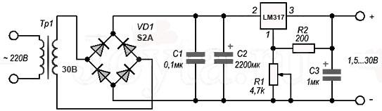Схема простого регулируемого блока питания на стабилизаторе LM317
