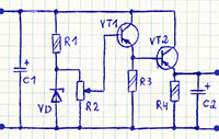 схема стабилизатора напряжения на твух транзисторах