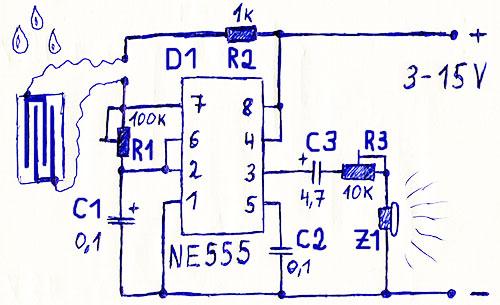 Простая схема звукового оповещателя наличия воды, её уровня, утечки, перелива