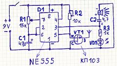 детектор скрытой проводки на таймере 555