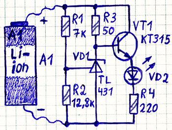 Простая схема светодиодного индикатора разряда литиевого аккумулятора