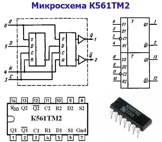 микросхема К561ТМ2 устройство, цоколевка, внешний вид