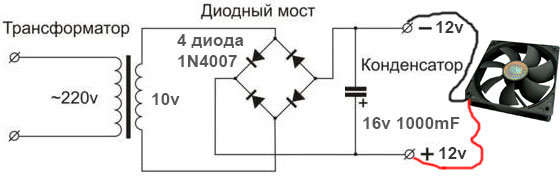 Схема простой блок питания на 12 вольт для вентилятора от компьютера