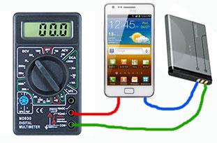 как подсоединить провода мультиметра для измерения тока на телефоне, смартфоне